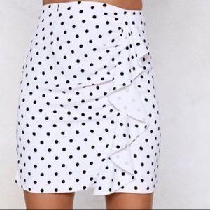NASTY GAL Ruffle With Me Polka Dot Skirt